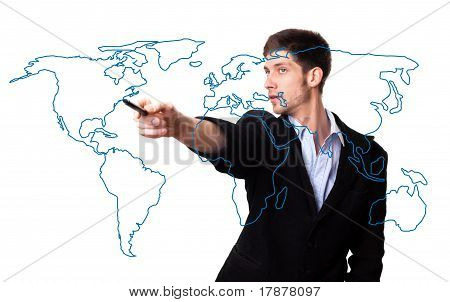 Man Drawing The World Map