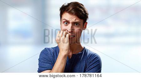 Anxious man face.