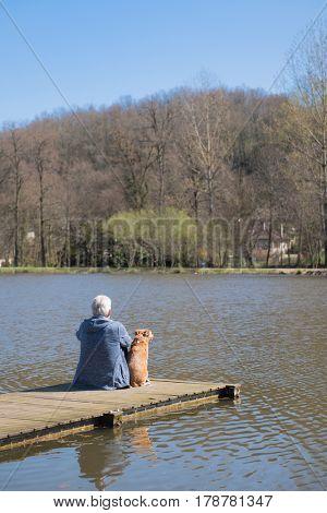 Man sitting with his dog on landing stage at nature lake