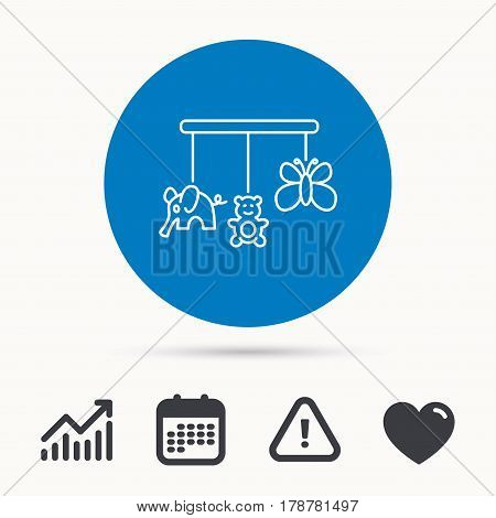 Baby toys icon. Butterfly, elephant and bear sign. Entertainment for newborn symbol. Calendar, attention sign and growth chart. Button with web icon. Vector