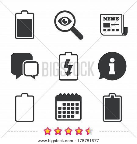 Battery charging icons. Electricity signs symbols. Charge levels: full, empty. Newspaper, information and calendar icons. Investigate magnifier, chat symbol. Vector