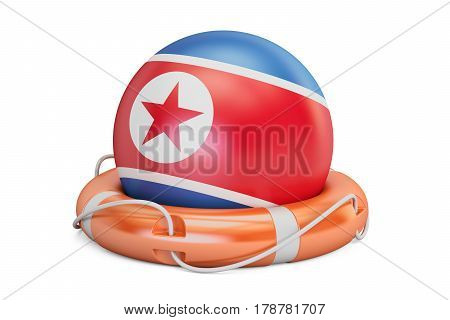Lifebelt with North Korea flag safe help and protect concept. 3D rendering
