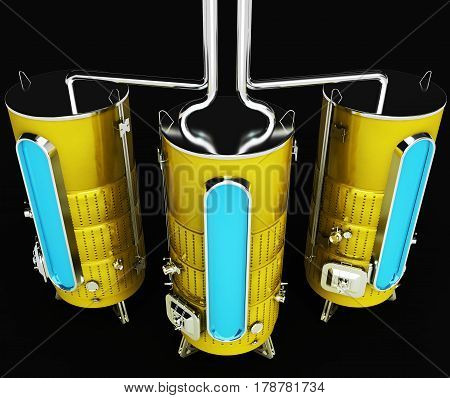 Metal barrel for industrial purposes. Capacity for production and storage. Industrial Design. Illustration 3d model.