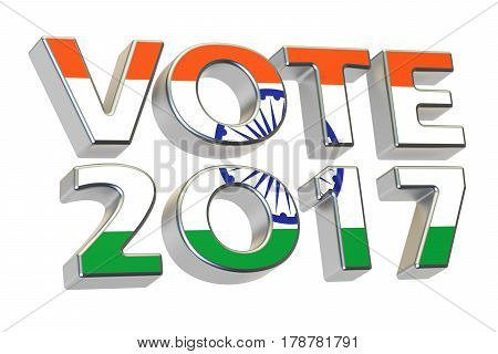 Vote 2017 in India. Indian election concept 3D rendering isolated on white background
