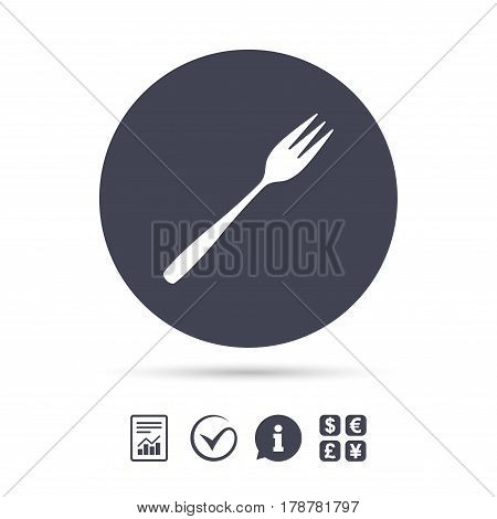 Eat sign icon. Cutlery symbol. Diagonal dessert trident fork. Report document, information and check tick icons. Currency exchange. Vector