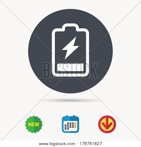 Battery power icon. Charging accumulator symbol. Calendar, download arrow and new tag signs. Colored flat web icons. Vector