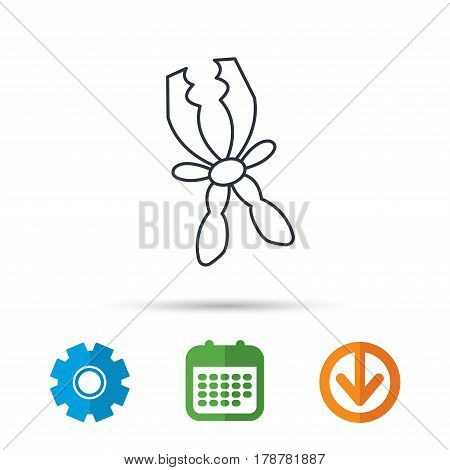 Terminal electrical clips icon. Charging the battery sign. Calendar, cogwheel and download arrow signs. Colored flat web icons. Vector