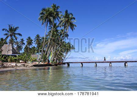 Landscape of a tropical resort on Vanua Levu Island Fiji.i