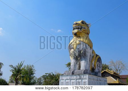 Leo statue Famous attractions in Central. Kanchanaburi Province, Thailand.