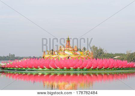 ฺBig lotus for worship in wat chao-am thailand