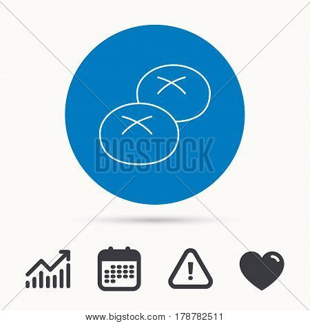 Bread rolls or buns icon. Natural food sign. Bakery symbol. Calendar, attention sign and growth chart. Button with web icon. Vector