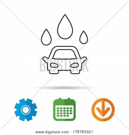 Car wash icon. Cleaning station with water drops sign. Calendar, cogwheel and download arrow signs. Colored flat web icons. Vector