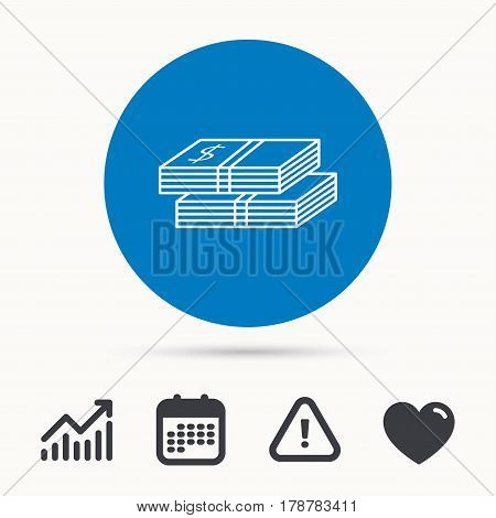 Cash icon. Dollar money sign. USD currency symbol. 2 wads of money. Calendar, attention sign and growth chart. Button with web icon. Vector