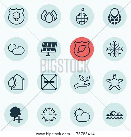 Set Of 16 Eco-Friendly Icons. Includes Cloud Cumulus, Timber, Pin Earth And Other Symbols. Beautiful Design Elements.