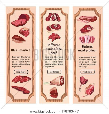 Sketch colorful meat vertical banners with text and various parts of beef in wooden frames vector illustration
