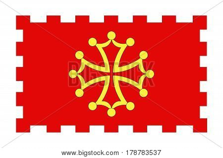 Flag of Aude is a department in south-central France. Vector illustration
