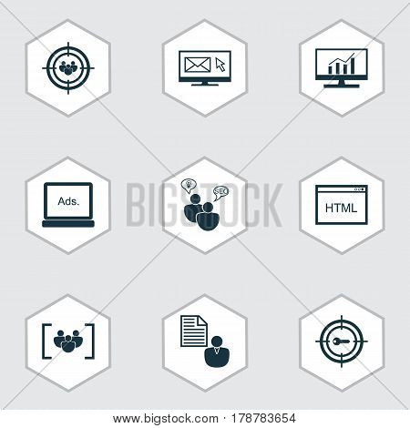 Set Of 9 SEO Icons. Includes Keyword Marketing, Market Research, Newsletter And Other Symbols. Beautiful Design Elements.