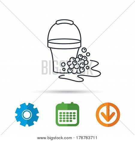 Soapy cleaning icon. Bucket with foam and bubbles sign. Calendar, cogwheel and download arrow signs. Colored flat web icons. Vector