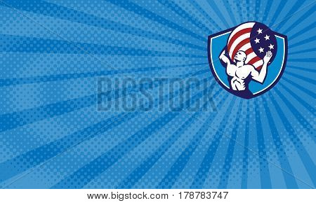 Business card showing Illustration of Atlas looking up carrying on his back globe world earth draped with usa american stars and stripes flag viewed from front set inside crest shield done in retro style.