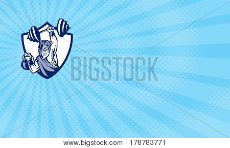 Business card showing Illustration of a berserker a champion Norse warrior wearing pelt of bear skin lifting barbell and kettlebell viewed from front set inside shield crest done in retro style.