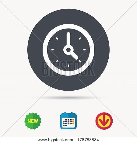 Clock icon. Mechanical watch symbol. Calendar, download arrow and new tag signs. Colored flat web icons. Vector