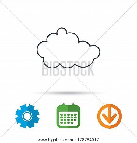 Cloud icon. Overcast weather sign. Meteorology symbol. Calendar, cogwheel and download arrow signs. Colored flat web icons. Vector