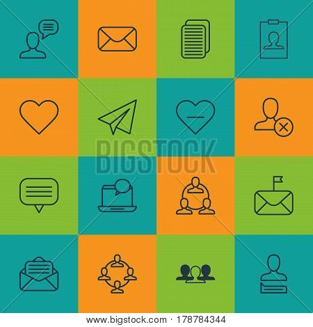 Set Of 16 Social Icons. Includes Follow, Read Message, Mail Notification And Other Symbols. Beautiful Design Elements.
