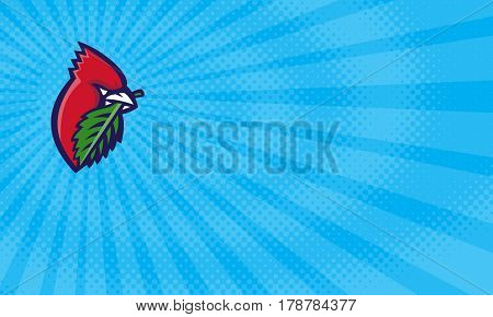 Business card showing Illustration of a head of a Cardinal passerine birds also known as cardinal-grosbeak and cardinal-bunting with leaf viewed from the side set inside circle done in retro style.
