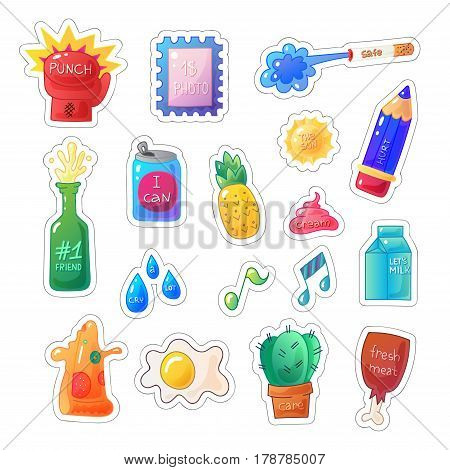 Sarcastic modern colorful sticker set. Vector fashion patch illustration made in candy style