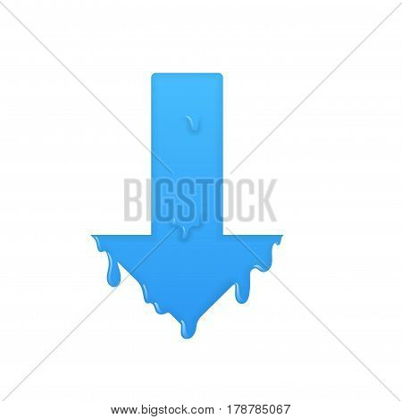 Melting down blue arrow. Download symbol illustration.
