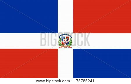 flat dominican republic flag in the colors blue, white and red