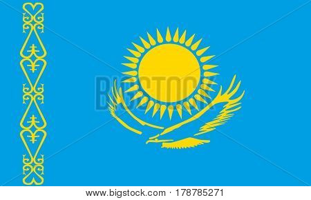flat kazakhstan flag in the colors blue and yellow
