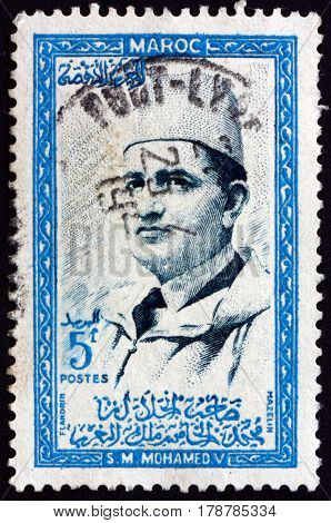 MOROCCO - CIRCA 1956: a stamp printed in Morocco shows Mohammed V Sultan of Morocco circa 1956