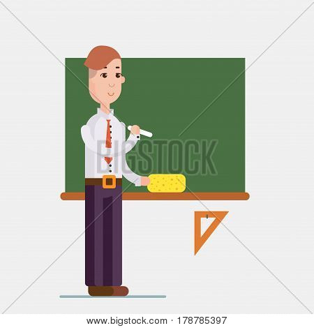 Teacher standing in front of blackboard holding chalk in classroom at school, college or university. Flat design people characters.