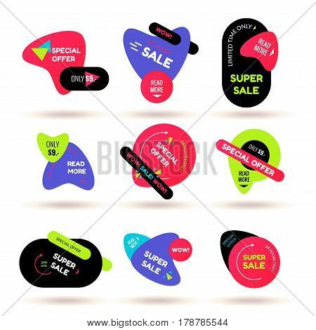 Set of modern flat sale stickers. Vector badge for online shopping, product promotions, web and mobile site ads, print material, sticker and tags