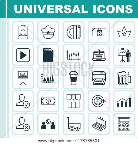Set Of 25 Universal Editable Icons. Can Be Used For Web, Mobile And App Design. Includes Elements Such As Memory Card, Stock Market, Special Demonstration And More.
