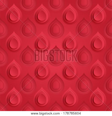 Blood drop symbol seamless pattern. Red donor background.