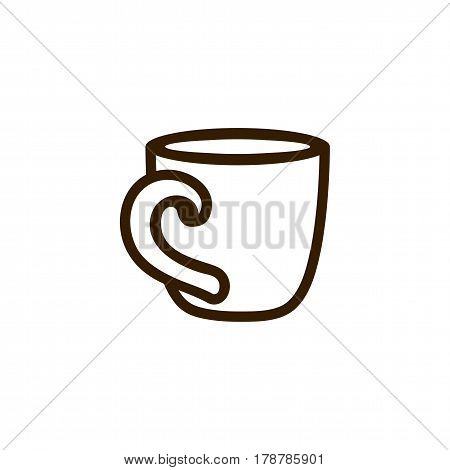 Cup of coffee tea with steam line icon black on white. Outline icon