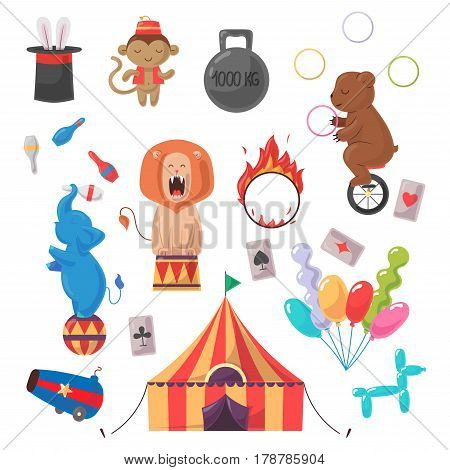 Amazing show with trained animals and different circus stuff illustration set