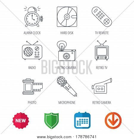 Microphone, video camera and photo icons. Alarm clock, retro radio and TV remote linear signs. New tag, shield and calendar web icons. Download arrow. Vector