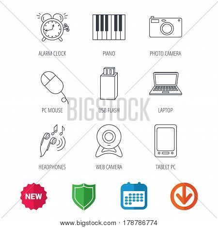 Photo camera, USB flash and notebook laptop icons. PC mouse, alarm clock and web camera linear signs. Tablet PC and music headphones icons. New tag, shield and calendar web icons. Download arrow