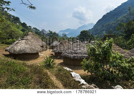 Kogi village in the forest in the Sierra Nevada de Santa Marta in Colombia