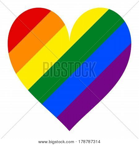 Use it in all your designs. Rainbow pride flag LGBT movement in heart shape. This vector illustration a graphic element for design.
