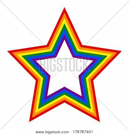 Use it in all your designs. Rainbow pride flag LGBT movement in star shape. This vector illustration a graphic element for design.
