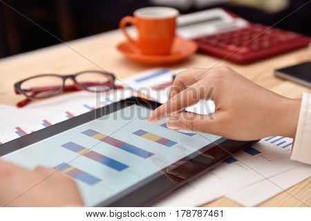 Businesswoman Touching Digital Tablet