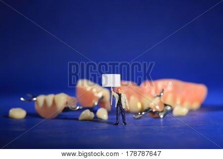 Hilarious Miniature Workers Performing Dental Procedures. Dental Office Art.