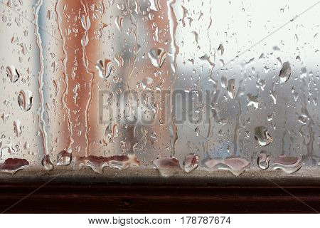 Window Glass With Increased Condensation Level, Strong, High Humidity In The Room, Large Drops Of Wa