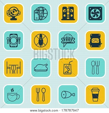Set Of 16 Cafe Icons. Includes Dining, Tea, Lemon Juice And Other Symbols. Beautiful Design Elements.
