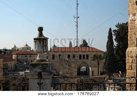 Top view of the Armenian quarter in the old city of Jerusalem