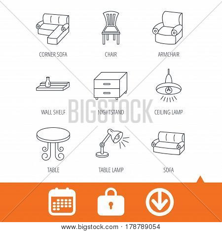 Corner sofa, table and armchair icons. Chair, ceiling lamp and nightstand linear signs. Wall shelf furniture flat line icons. Download arrow, locker and calendar web icons. Vector